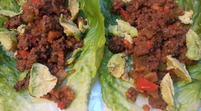 Lettuce wraps with savoury mince.