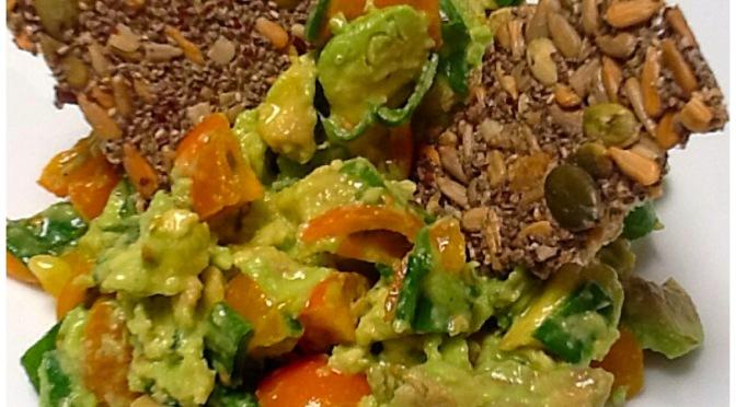 Crispy Seed Crackers and Guacamole.