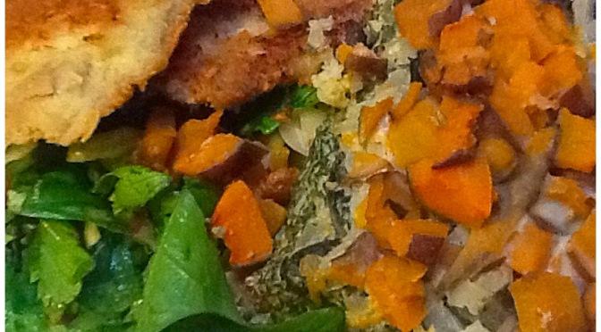 Silverbeet, daikon and sweet potato bake