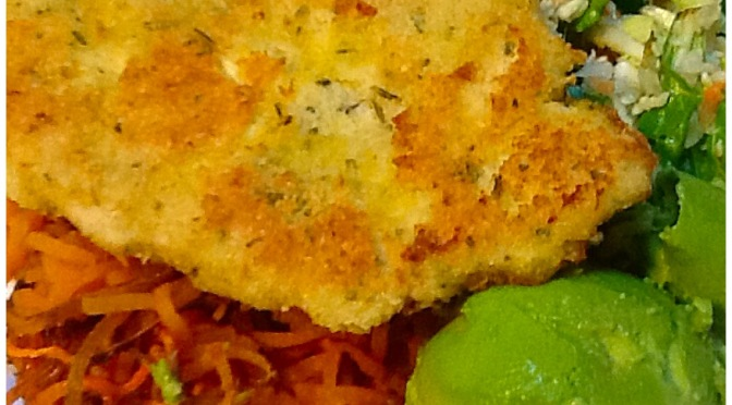 Herb coated chicken schnitzel