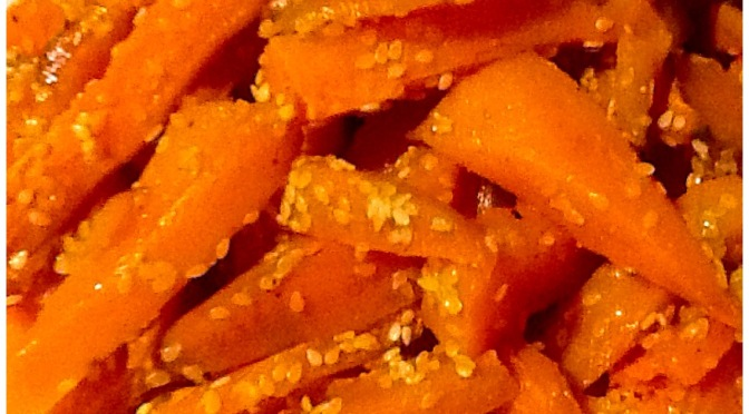Sweet Potato chips with sesame seeds