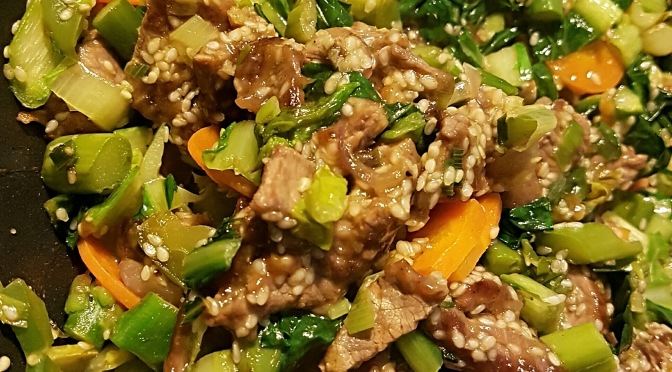 Beef Stir fry with Asparagus and Chickory